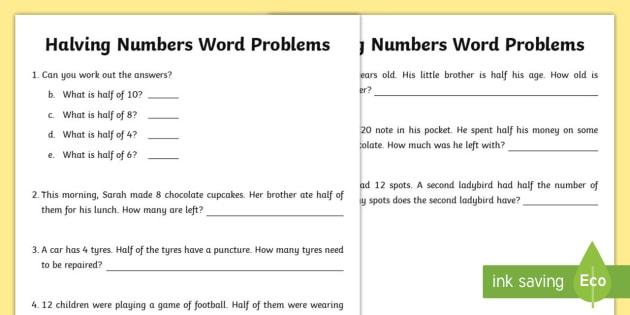 Halving Numbers Word Problems Worksheet   Worksheet