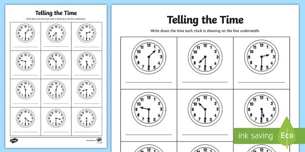 Half Past Times Analogue Clock Worksheet   Worksheet