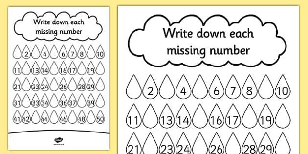 Raindrop Missing Number Worksheet   Worksheet
