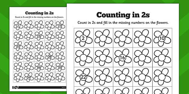 Counting In 2s Flowers Worksheets