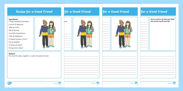 Recipe For A Good Friend Differentiated Worksheet   Worksheets