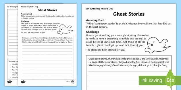 Ghost Stories Writing Worksheet   Worksheet