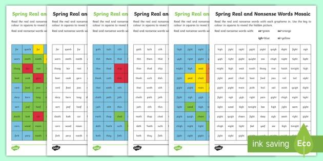 Spring Phase 3 Phonics Mosaic Worksheet   Worksheet