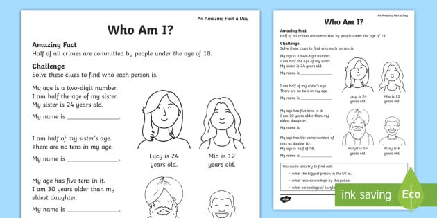 Who Am I  Worksheet   Worksheet