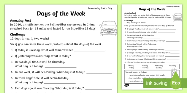 Days Of The Week Worksheet   Worksheet