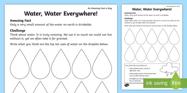 Water, Water, Everywhere! Worksheet   Worksheet