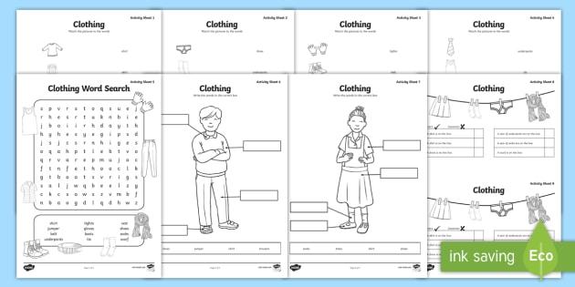 Clothes Worksheet   Worksheets