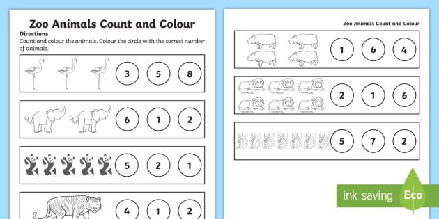 Zoo Animals Counting Worksheet   Worksheet