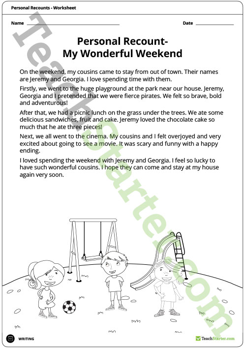 Personal Recounts Worksheet