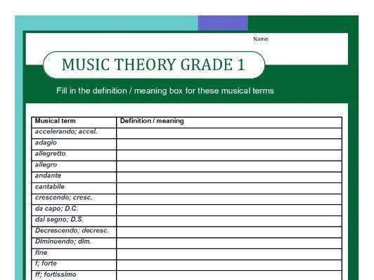 Grade One Music Theory Worksheet