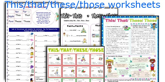This That These Those Worksheets