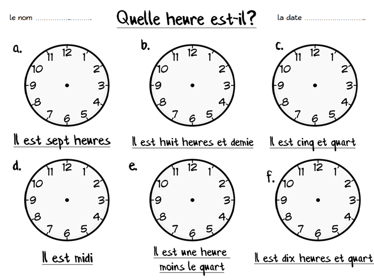 French Fill In The Clocks Worksheet By Emmy91