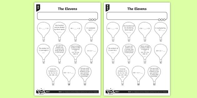 11 Times Table Worksheet   Worksheets