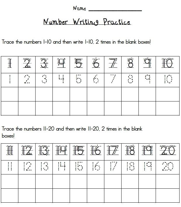 Trace And Write Numbers 1 20