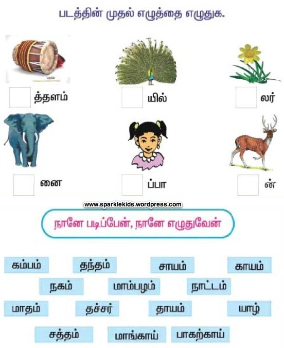 Sample Tamil Worksheets