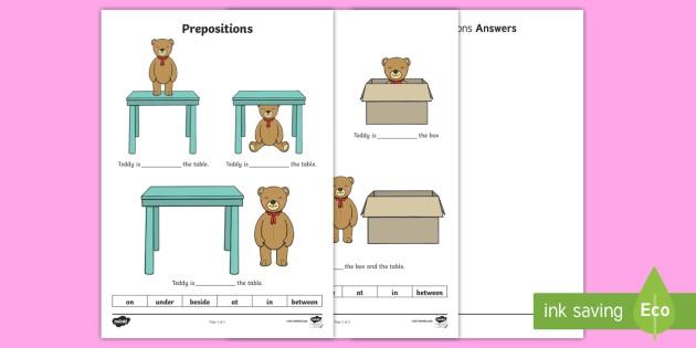 Teddy Prepositions Worksheet   Worksheet