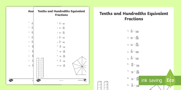Tenths And Hundredths Equivalent Fractions Worksheet   Worksheet