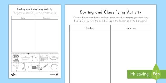 Sorting & Classifying Worksheet   Worksheet