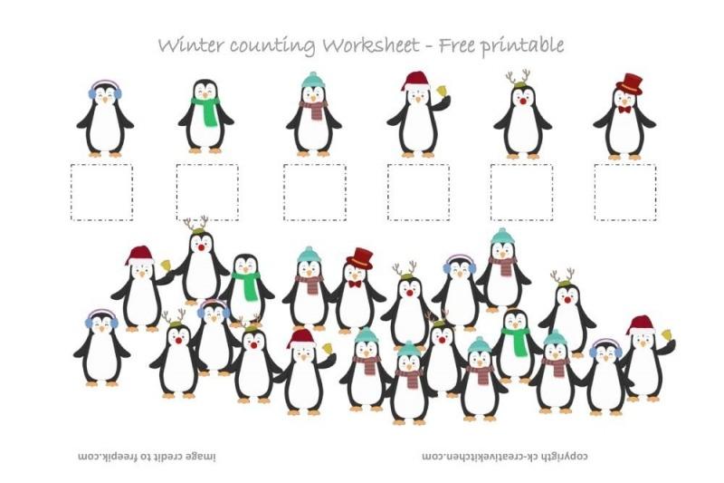Winter Penguin Counting Worksheet
