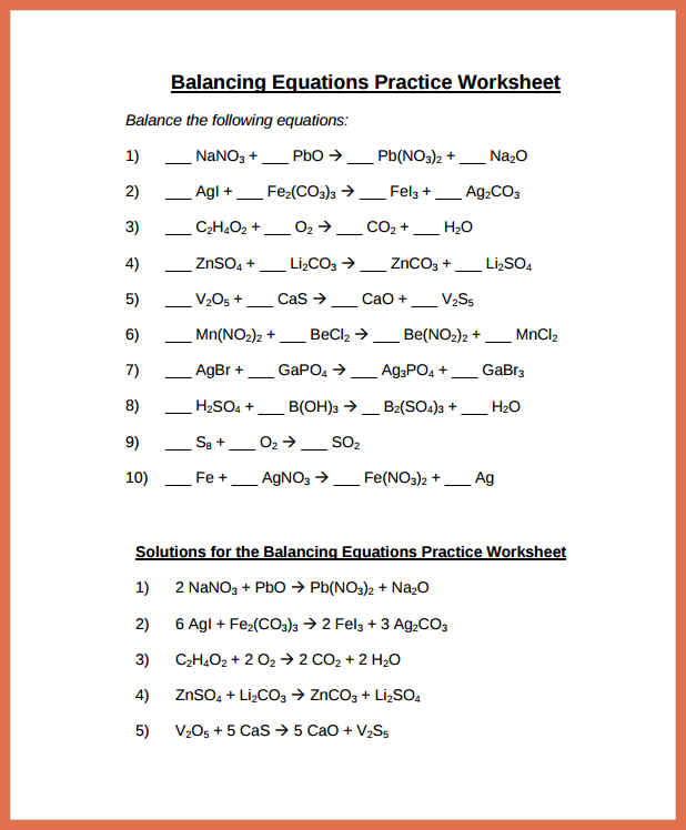 Balancing Equations Practice Worksheet  Equations