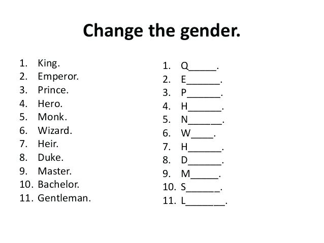 Gender Of Noun Worksheets Multiple Choice Activities Exercise 1