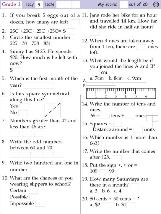 Year 9 Worksheets Maths Mental Math Grade 2 Day 9 Mental Maths
