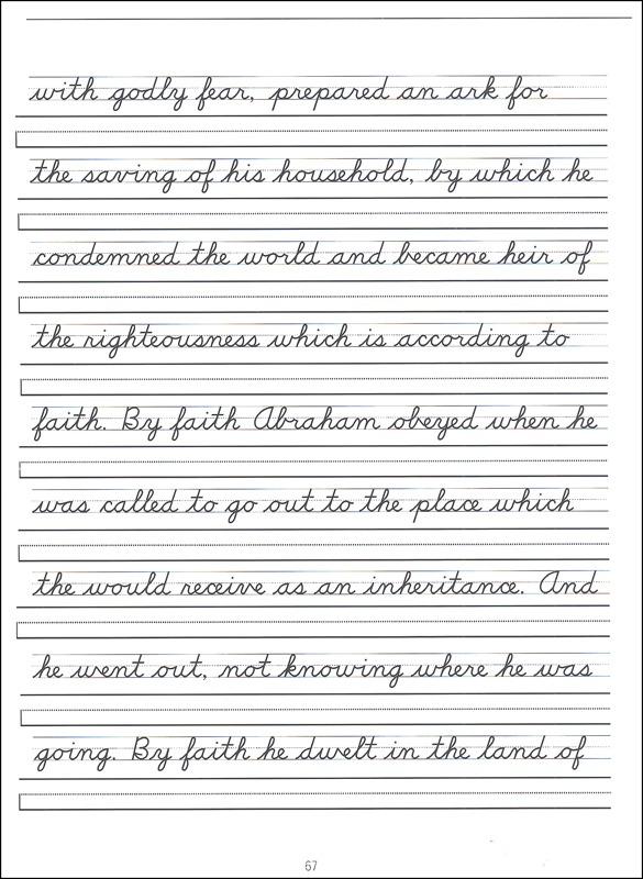 Scripture Character Writing Worksheets D'nealian Advanced Cursive