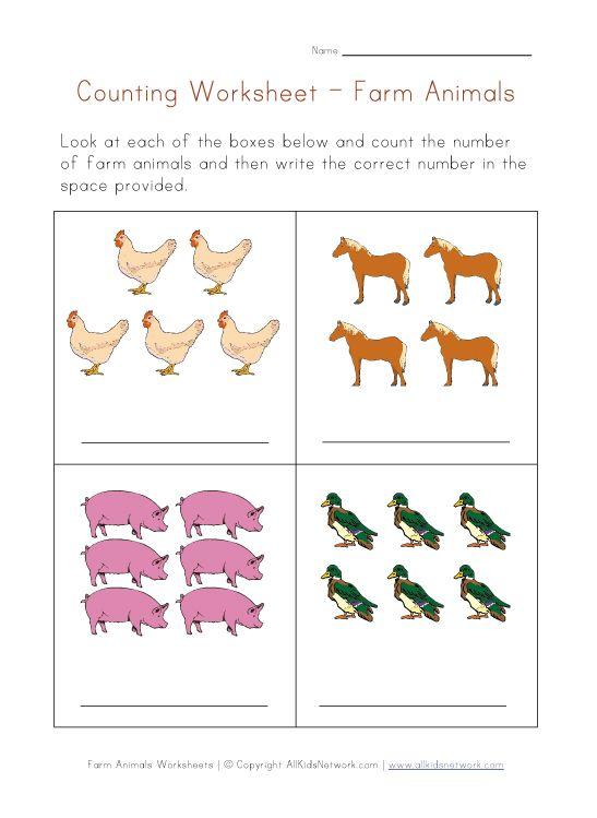 Farm Animals Math Worksheet