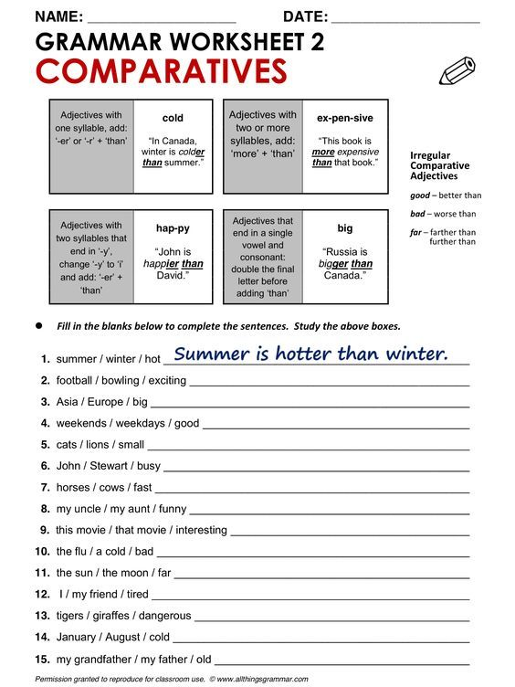 Grammar Worksheet 2 Comparatives