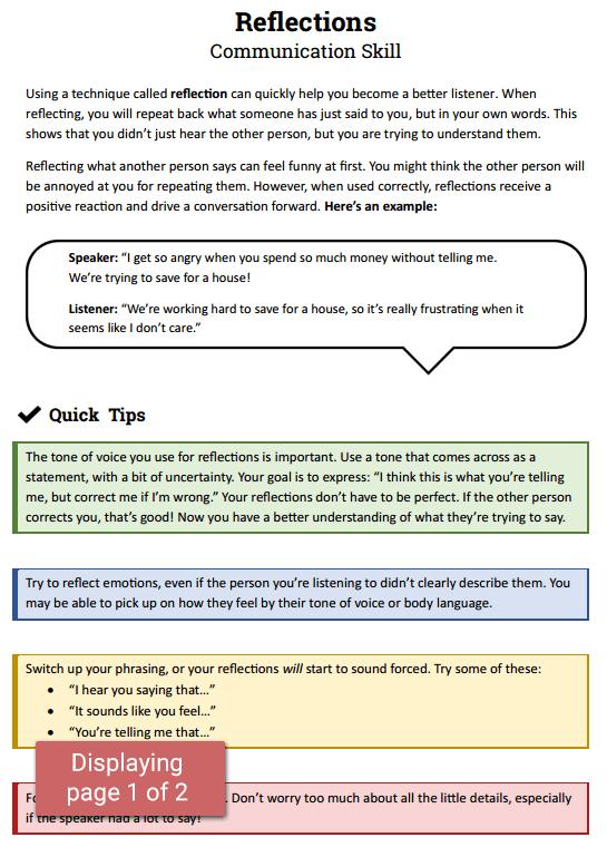 Reflections  Communication Skill (worksheet