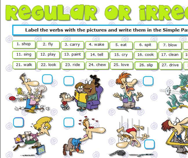Regular Or Irregular  Actions Verbs Worksheet