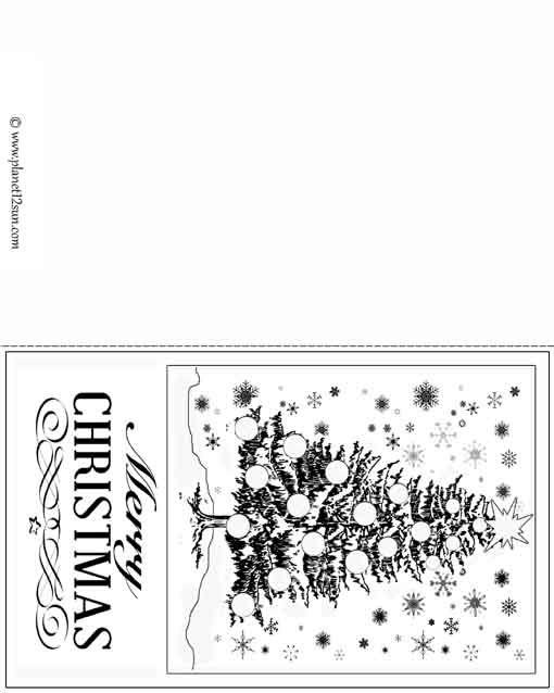 Free Printable Black And White Christmas Card  Color The Christmas
