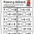 Missing Addend And Subtrahend Worksheets