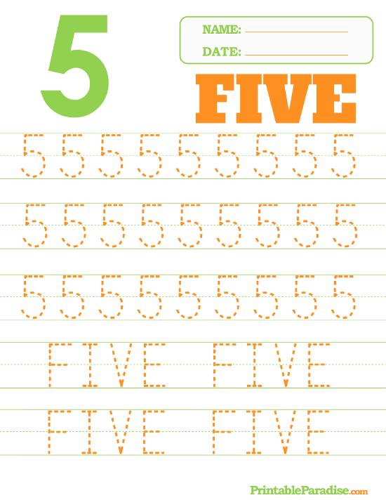 Printable Number 5 Tracing Worksheet