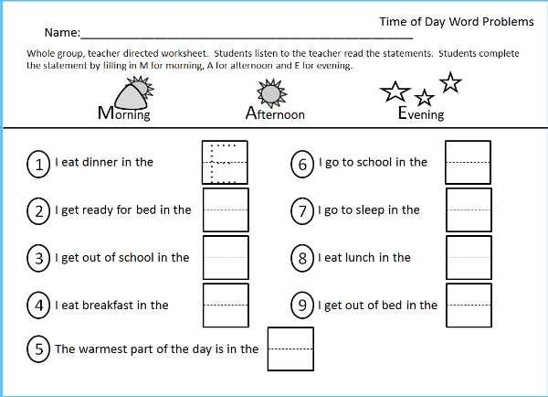 Worksheet For Morning, Afternoon Evening, Part Of The Time Packet