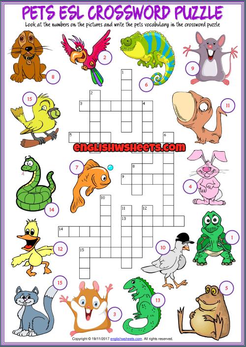 Pets Crossword Puzzle Esl Printable Exercise Worksheet