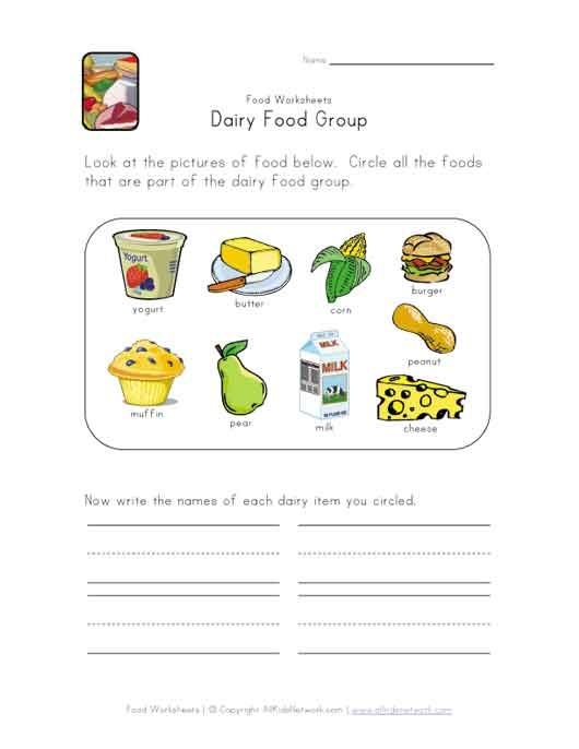 This Simple Food Group Worksheet Is Perfect For Any Food Or Dairy