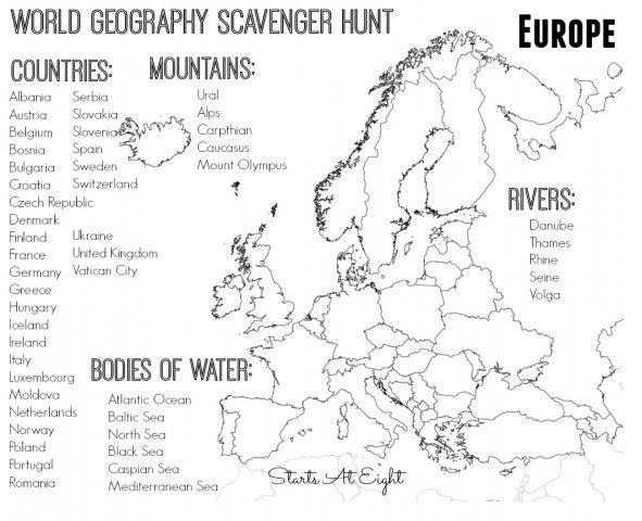 World Geography Scavenger Hunt  Europe ~ Free Printable
