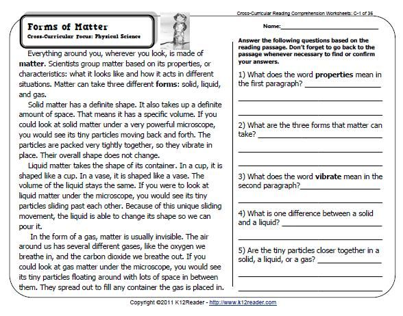 Properties Of Matter  Reading Comprehension Worksheets For 5th