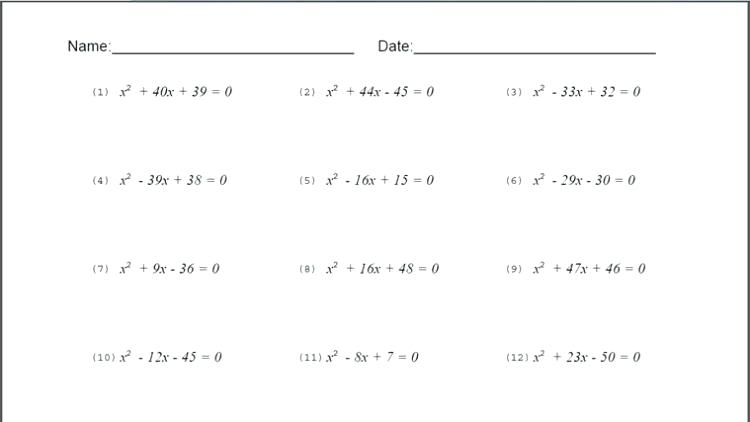8th Grade Math Algebra Worksheets Grade Math Worksheets Printable
