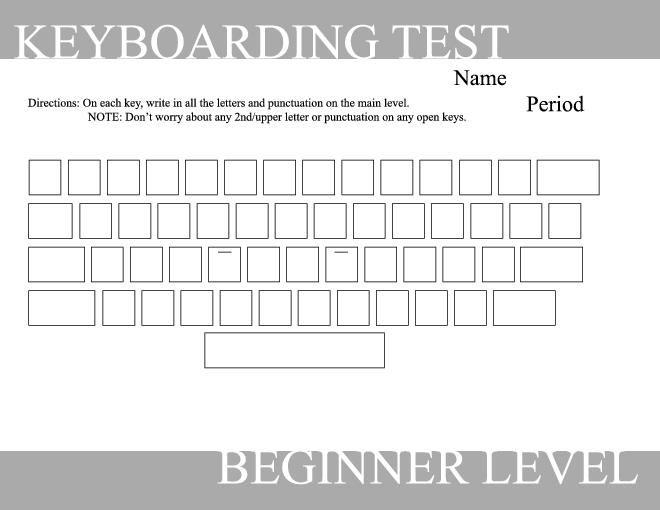 Blank Typing Keyboard Worksheet