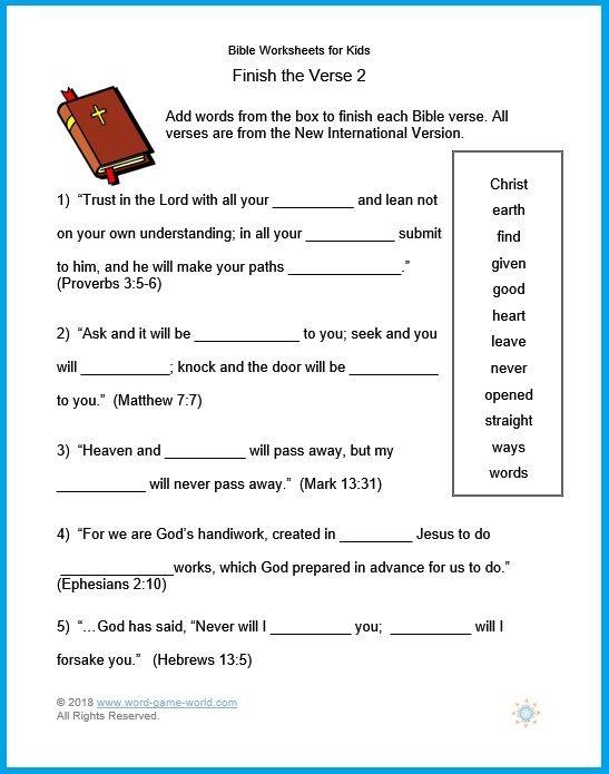 Bible Worksheets For Kids