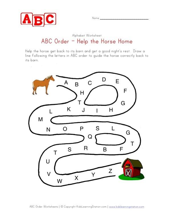 Abc Order Maze Worksheet