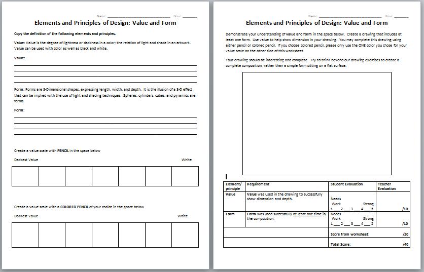 Printables  Elements And Principles Of Art Worksheet