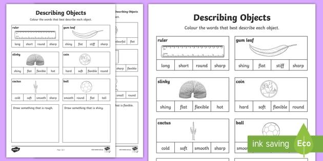Describing Objects Worksheet   Worksheet