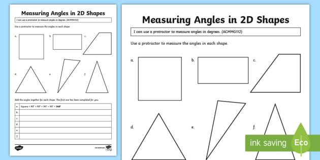 Measuring Angles In Shapes Worksheet   Worksheet