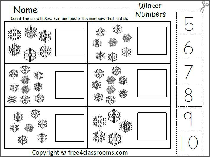 Winter Number Matching Worksheet For The Numbers 5 To 10 (cut And