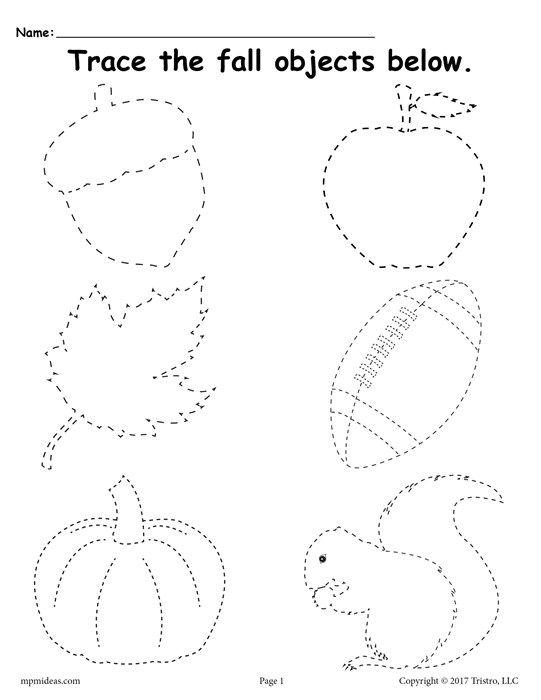 Free Printable Fall Tracing Worksheet