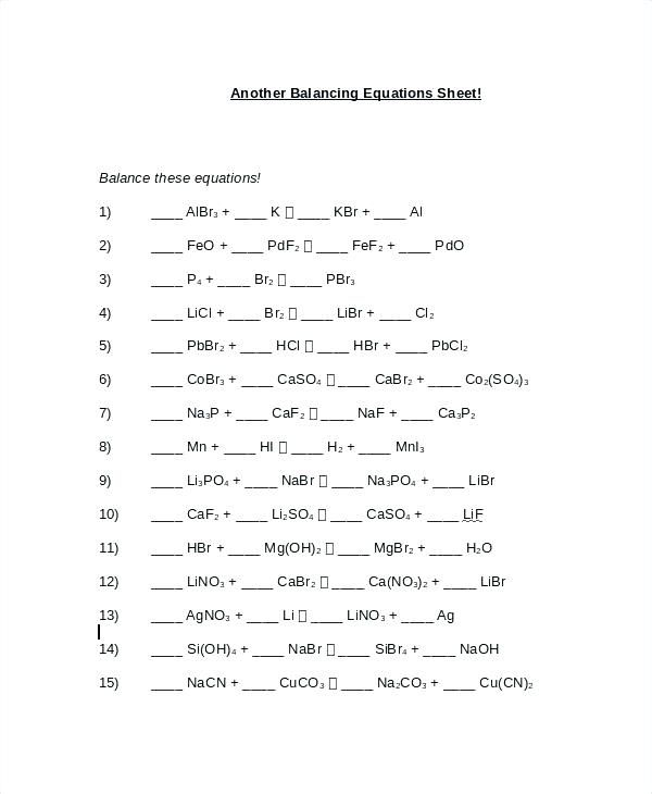 Balancing Chemical Equations Practice Worksheet Answer Key