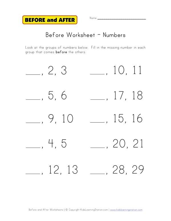 Numbers Before Worksheet